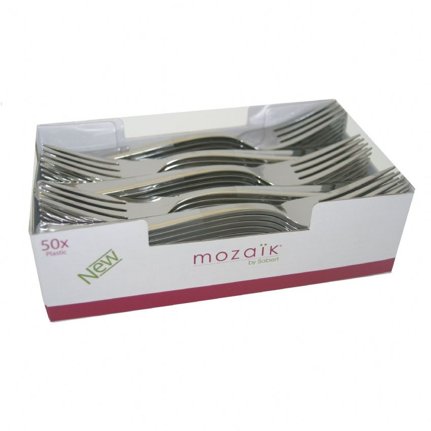 50 x Metallic Silver Plastic FORKS - Luxury Strong Disposable Cutlery - Mozaik by Sabert